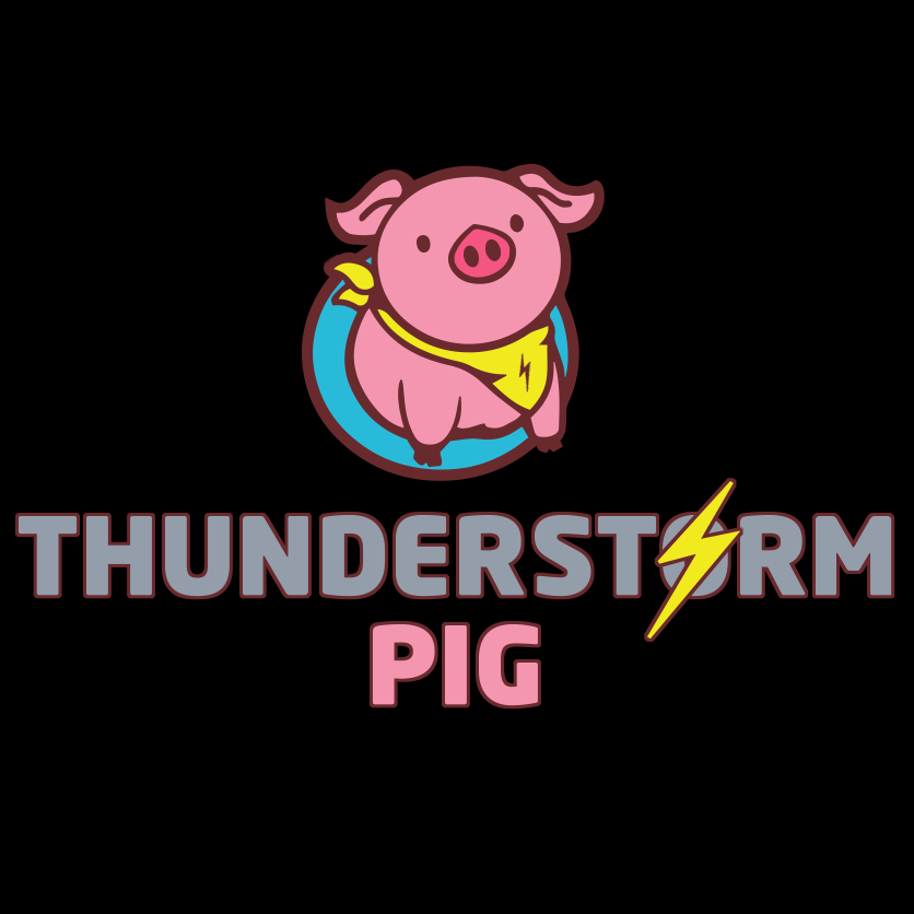 the thunderstormpig logo on a black background
