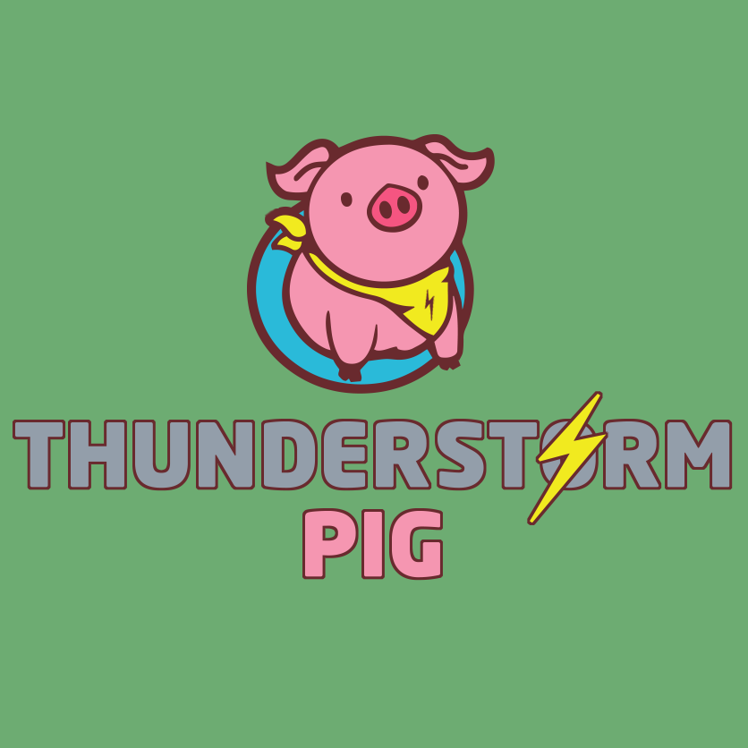 thunderstorm pig logo on a nice green background