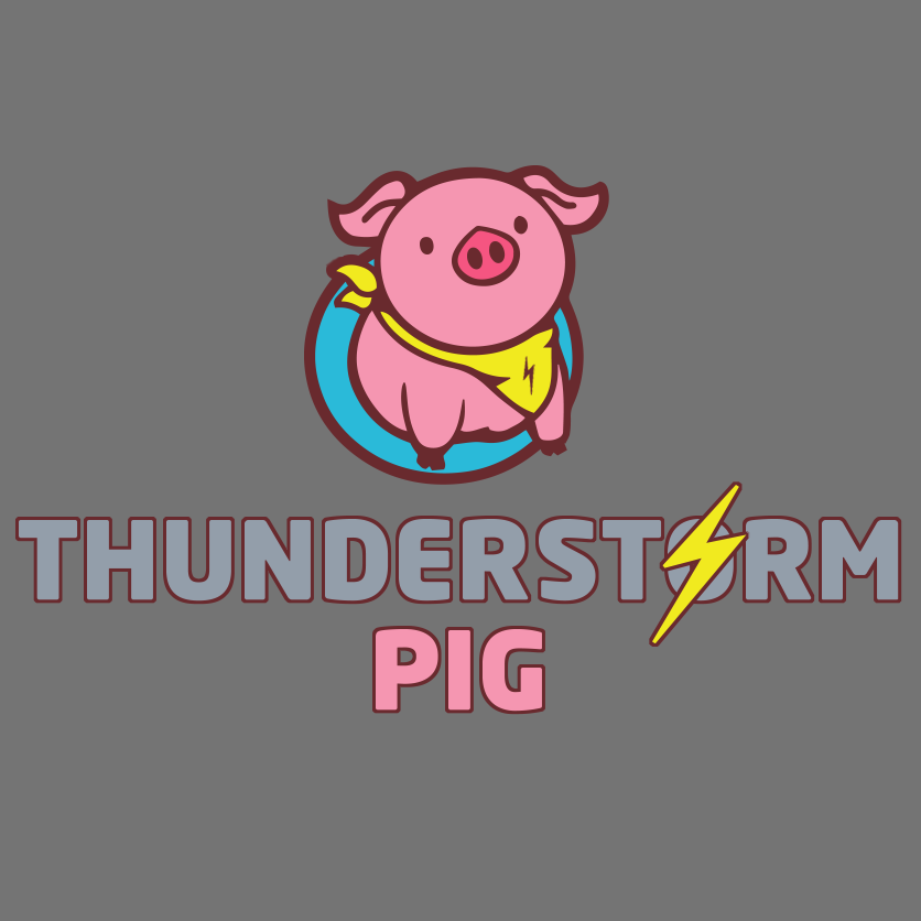 a neutral grey background behind thunderstormpig
