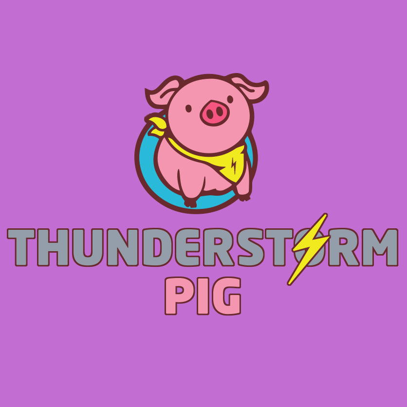 my thunderstorm pig logo on a purple background