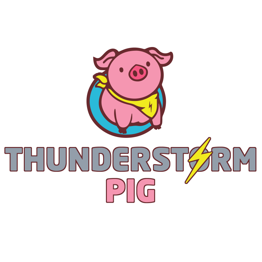 the thunderstormpig logo on a white background
