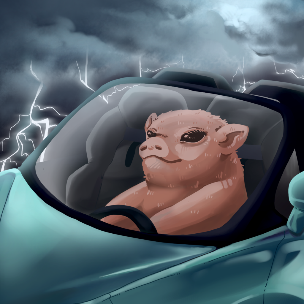 thunderstormpig in a mclaren 570s with a big smile on his cute piggy face