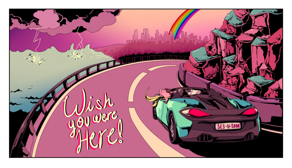 thunderstorm pig drives his aqua mclaren 570s spider convertible to rainbow city on a postcard